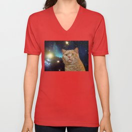 Cat staring at the universe Unisex V-Neck