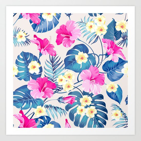 Tropical Pattern - Blue & Pink version Art Print