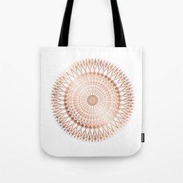 Rose Gold White Mandala Tote Bag