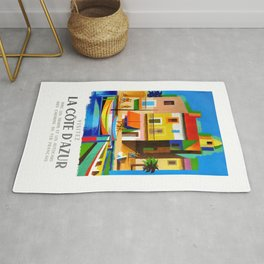 1963 Cote d'Azur French Riviera Vintage World Travel Poster Rug