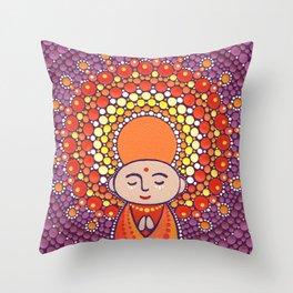 Jizo Meditating upon a Ruby Lotus Throw Pillow