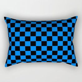 Black and Brandeis Blue Checkerboard Rectangular Pillow