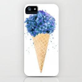 Hydrangea flower ice cream cone watercolor iPhone Case