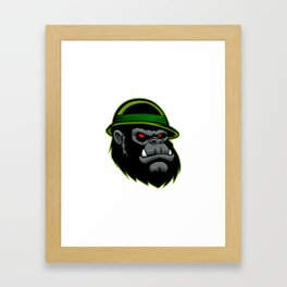Military Gorilla Head Framed Art Print