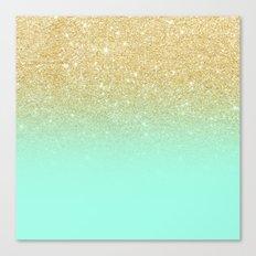 Modern gold ombre mint green block Canvas Print