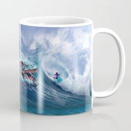 Mosasaurus attacks Surfer in a Wave Coffee Mug