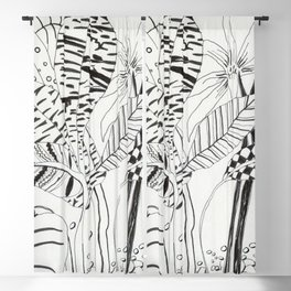Patterned leaves revisited -line drawing plants Blackout Curtain