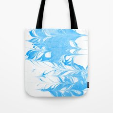 Suminagashi blue and white 1 marble spilled ink ocean swirl watercolor painting Tote Bag