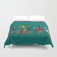 aquaman Duvet Covers featuring Office Party by Midgetcorrupter