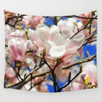magnolia Wall Tapestries featuring  Magnolia. by Assiyam