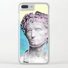 Aesthetic 90's Retro Vaporwave Augustus statue Clear iPhone Case