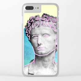 Aesthetic 90's Retro Vaporwave Augustus statue Clear iPhone Case