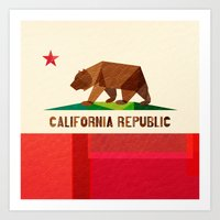 flag Art Prints featuring California by Fimbis