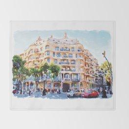 La Pedrera Barcelona Throw Blanket