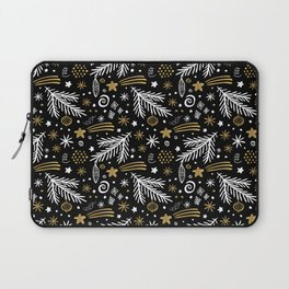 Christmas Pattern Gold Laptop Sleeve