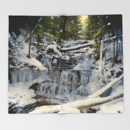 Wagner Falls Painterly Throw Blanket