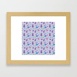 Crystals Repeating Pattern - Geometric Purple Crystals Boho Illustration Framed Art Print
