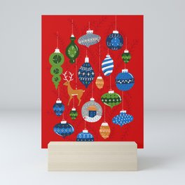 Holiday Ornaments in Red + Blue + Green Mini Art Print