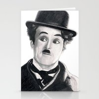 charlie chaplin Stationery Cards featuring Charlie Chaplin by Art by Boothe