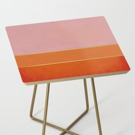 Orange, Pink And Gold Abstract Painting Side Table