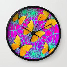 Golden Butterflies Neon Green Web Fuchsia Art Wall Clock