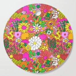 60's Groovy Garden in Neon Peach Coral Cutting Board