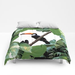 Toucan and leaves Comforters
