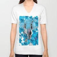 elephant V-neck T-shirts featuring Elephant  by Saundra Myles
