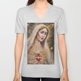 Immaculate Heart of Our Lady of Fatima Unisex V-Neck