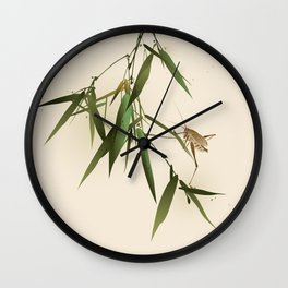 A grasshopper on bamboo leaves Wall Clock