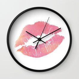 Watercolor Pink Lips Lipstick Chic Romantic Kiss Girls Bedroom Wall Decor fashion poster grl pwr Wall Clock