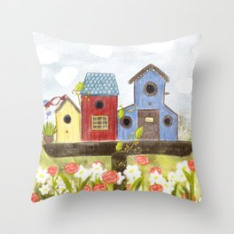 Garden Bird Throw Pillow