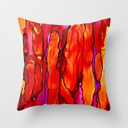 Reverie in Red Yellow and Violet Throw Pillow