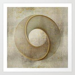 Geometrical Line Art Circle Distressed Gold Art Print