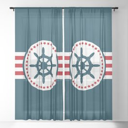 Sailing wheel 2 Sheer Curtain