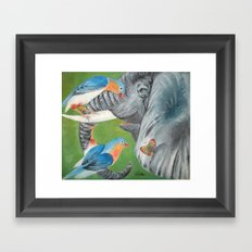 1.Elephant fantasy (blue) Framed Art Print