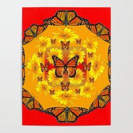 RED ORANGE MONARCH BUTTERFLIES & YELLOW SUNFLOWERS Poster