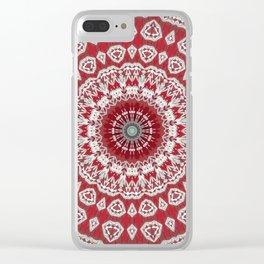 Red White Bohemian Mandala Design Clear iPhone Case