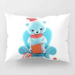 Teddy Bear With Christmas Box on White Pillow Sham