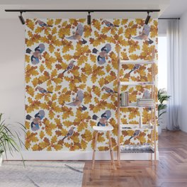 Eurasian jay birds seamless pattern with golden oak leaves and nuts Wall Mural
