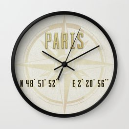 Paris - Vintage Map and Location Wall Clock