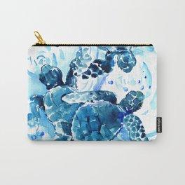 Three Sea Turtles, blue bathroom turtle artwork, Underwater Carry-All Pouch