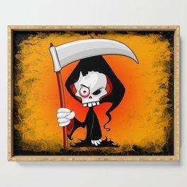 Grim Reaper Creepy Cartoon Character Serving Tray