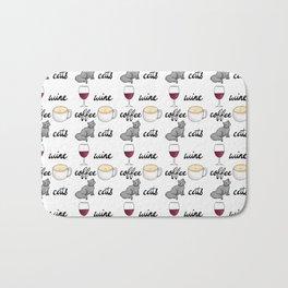 Wine Coffee Cats Bath Mat