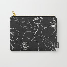Floral Simplicity - Black Carry-All Pouch