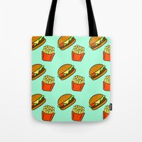 fries Tote Bags featuring Burgers & Fries by CozyReverie