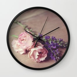 Farmhouse Pink Roses Wall Clock