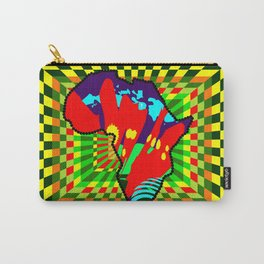 Colorful African Checkered Abstract Print Carry-All Pouch