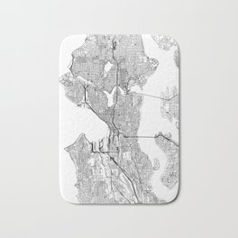 Seattle White Map Bath Mat