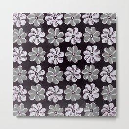 Floral design Black Gray & Light Fuchsia Flowers Print Metal Print
